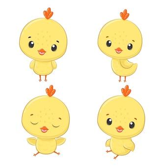 Satz fout niedliche gelbe hühner lokalisiert auf einem weißen hintergrund.