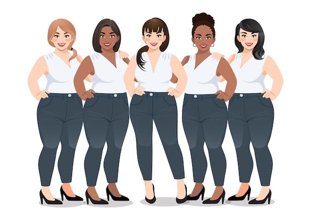 Satz frau im weißen ärmellosen hemd und in den jeans