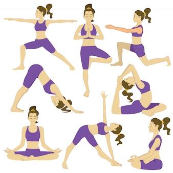 Satz frauen, die yogahaltungen tun