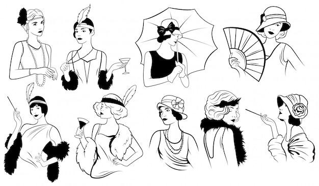 Satz frauen im art-deco-stil. sammlung von trends der weiblichen retro-mode der zwanziger jahre.