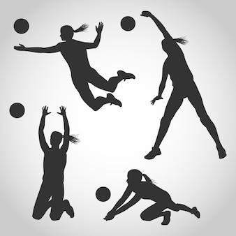 Satz frauen-volleyball-spieler-schattenbild