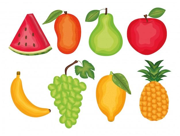 Satz frische früchte tropisch