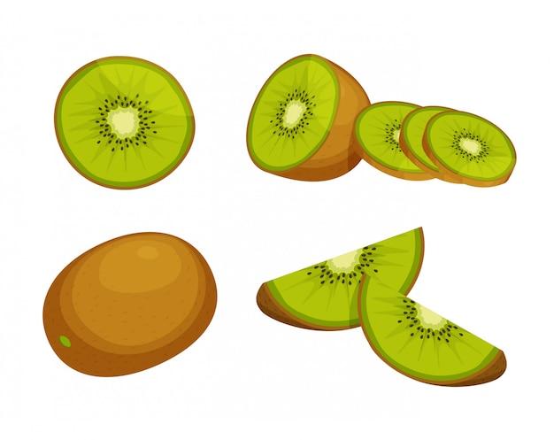 Satz frische ganze, halbe, geschnittene scheibe kiwi lokalisiert auf weißem hintergrund. zitrusfrucht. vegane lebensmittelikonen im trendigen cartoonstil. gesundes lebensmittelkonzept.