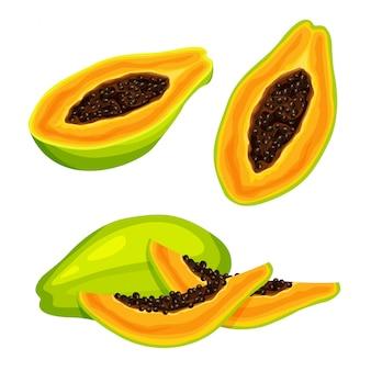 Satz frische ganze, halbe, geschnittene scheibe und stück papaya lokalisiert auf weißem hintergrund. vegane lebensmittelikonen im trendigen cartoonstil. gesundes lebensmittelkonzept.