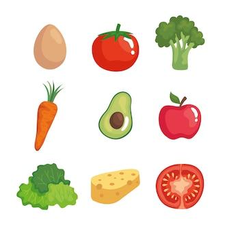 Satz frisches und gesundes gemüse