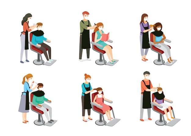 Satz friseur, der haare von kunden, mann, frau, junge und mädchen, friseurausrüstungen tut