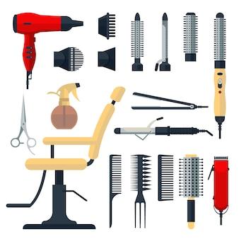 Satz friseurobjekte im flachen stil lokalisiert auf weißem hintergrund. friseursalon ausrüstung und werkzeuge logo icons, haartrockner, kamm, schere, stuhl, haarschneider, curling, haarglätter