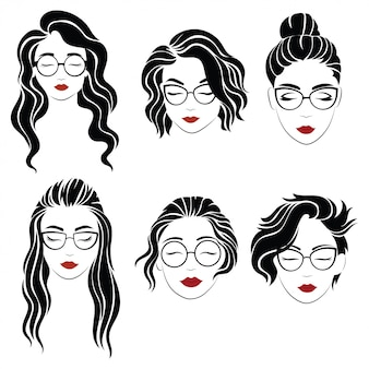 Satz frisuren für frauen mit brille. sammlung von silhouetten von frisuren für mädchen.