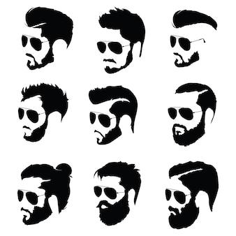 Satz frisuren für männer in brille. sammlung von schwarzen silhouetten von frisuren und bärten.