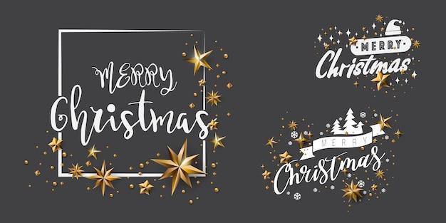 Satz frohe weihnacht-kalligraphisches design und verziert mit goldenen sternen