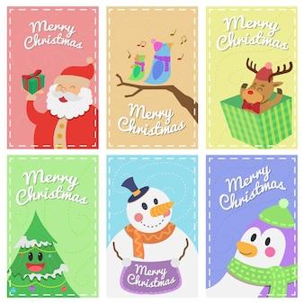 Satz frohe weihnachten banner charaktere