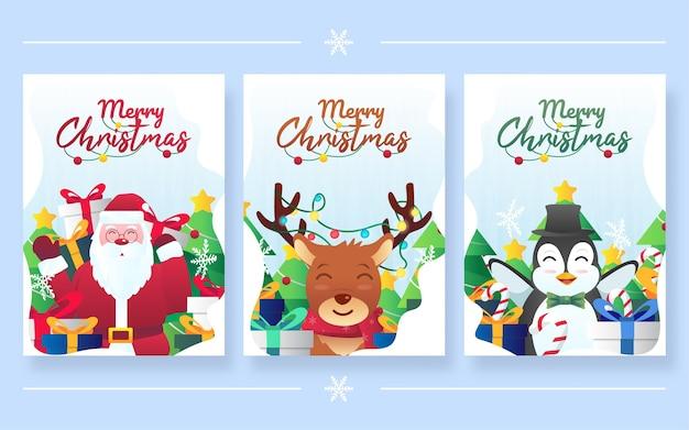 Satz frohe weihnachten grußkarten design.