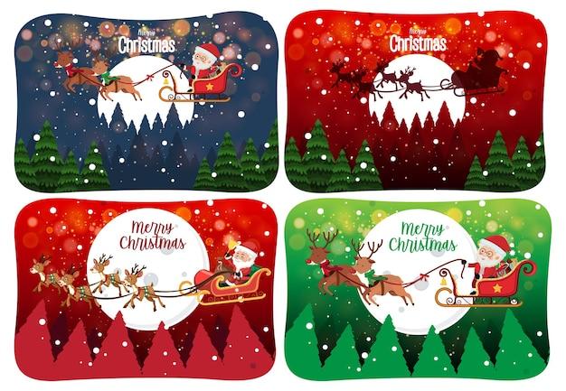 Satz frohe weihnachten szene mit weihnachtsmann im schnee