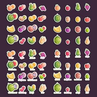 Satz frucht-aufkleber-vektor-ikonen-illustrations-sammlung