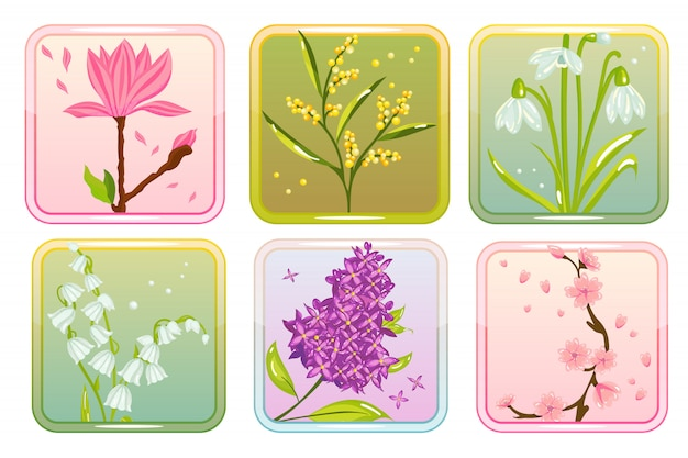 Satz frühlingsblumen