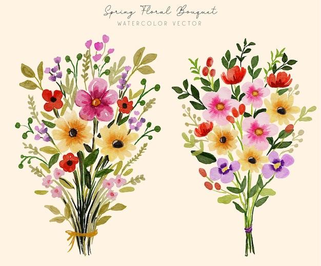 Satz frühlingsblumenstrauß-arrangements
