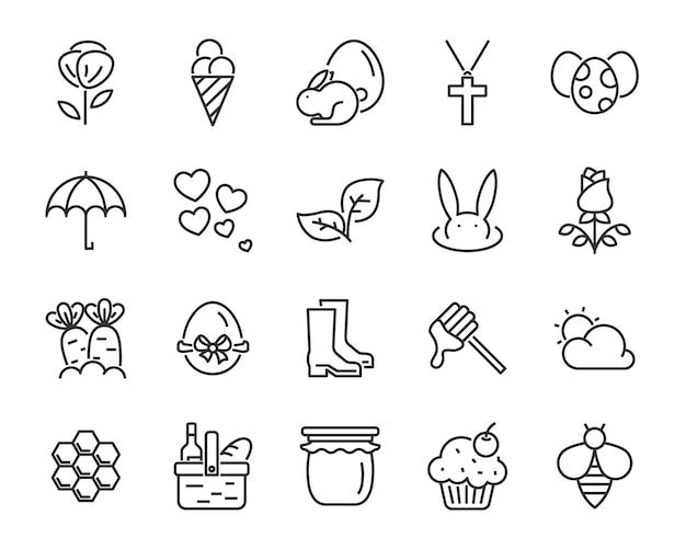 Satz frühlingsikonen, ernte, bauernhof, ostern, blume, regen, garten