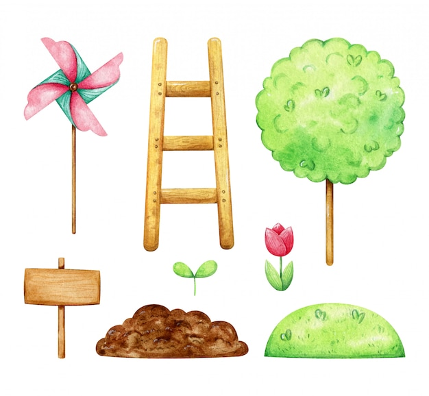Satz frühlingspflanzen und gartengeräte. die sammlung umfasst tulpe, spross, baum, leiter, windmühle, erde und gras. aquarell frühlingsgartenarbeit.