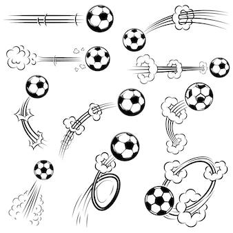 Satz fußball, fußbälle mit bewegungsspuren im comicstil. element für plakat, banner, flyer, karte. illustration