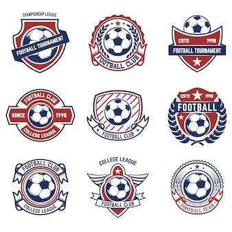 Satz fußball, fußballembleme. element für logo, etikett, emblem, zeichen. illustration
