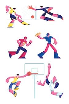 Satz fußball-, rugby- und basketballspieler lokalisiert auf weißem hintergrund. karikatur flache illustration