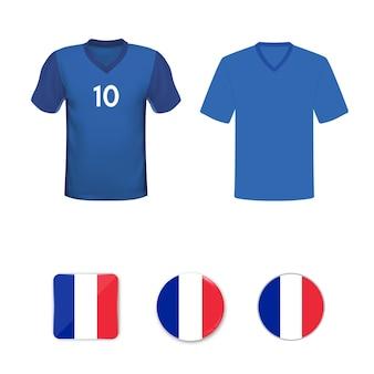 Satz fußball-t-shirts und flaggen der französischen nationalmannschaft