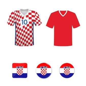 Satz fußballtrikots und flaggen der kroatischen nationalmannschaft