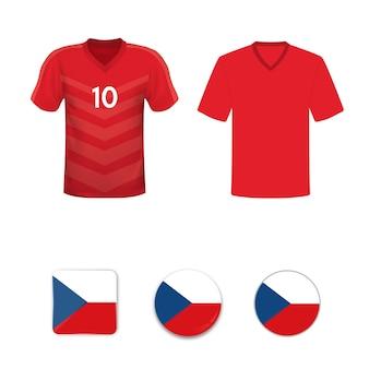 Satz fußballtrikots und flaggen der nationalmannschaft der tschechischen republik