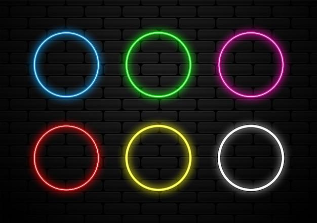 Satz futuristische neonlichtform