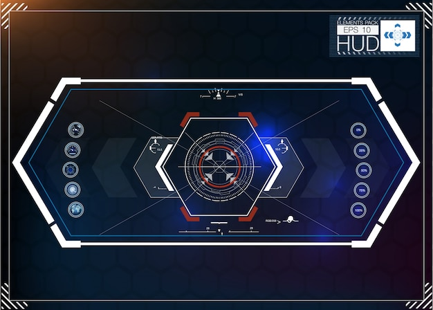 Satz futuristischer blauer infografiken als head-up-display. navigationselemente für das web und die app anzeigen. futuristische benutzeroberfläche. virtuelle grafik.