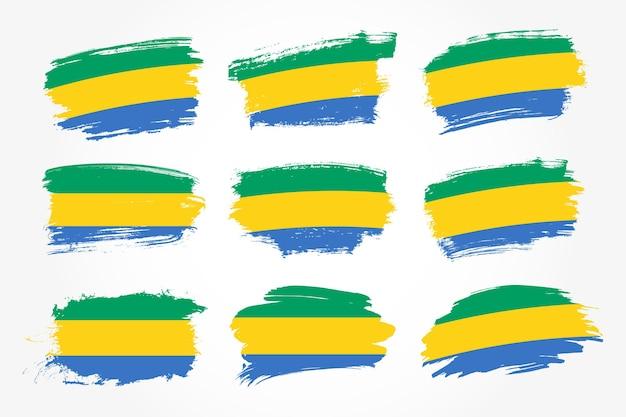 Satz gabun pinselstrich flaggen sammlung