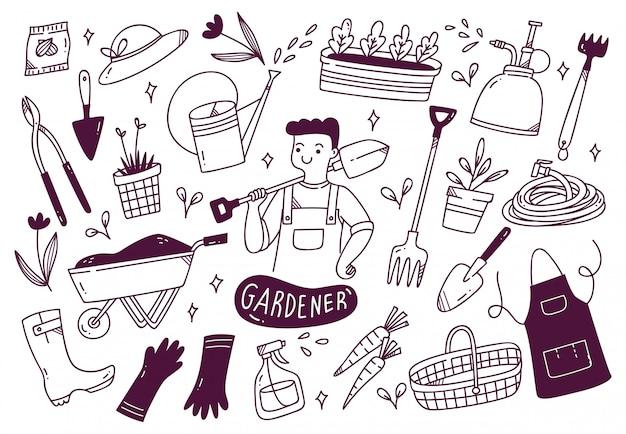 Satz gärtnerwerkzeuge im gekritzelstil