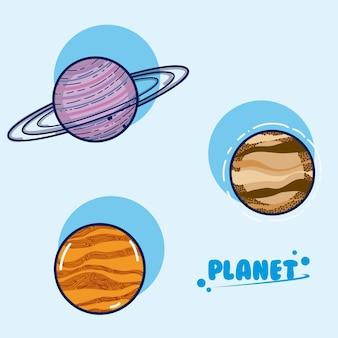 Satz galaxieplanetenkarikaturen