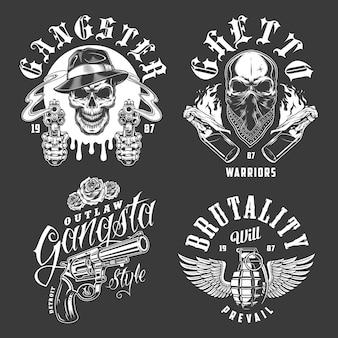 Satz gangster-embleme Kostenlosen Vektoren
