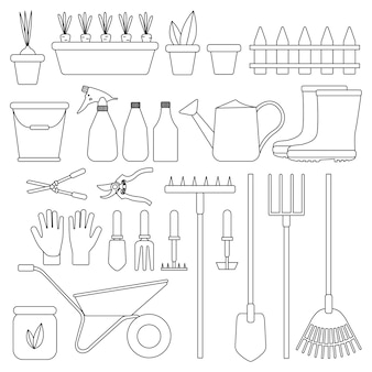 Satz gartengeräte isoliert. werkzeuge für die landwirtschaft. flache designabbildungen von objekten ohne füllung. gießkanne, schaufel, eimer, handschuhe usw.