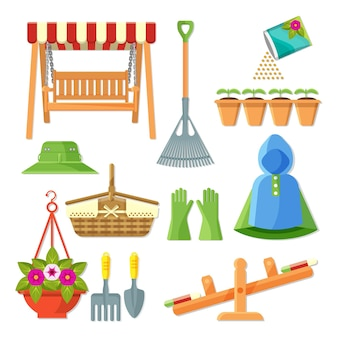 Satz gartengeräte und dekoratives zubehör vector die illustration, die auf weiß lokalisiert wird. sammlung von symbolen im gartenkonzept