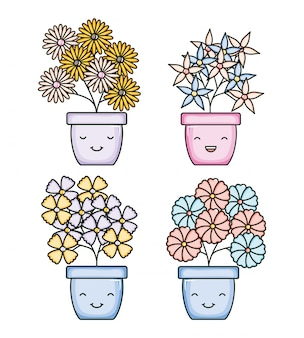 Satz gartenpflanzen in kawaii charakteren der töpfe
