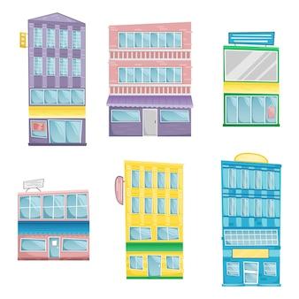 Satz gebäude im karikaturstil. sechs helle architektonische gebäude mit schildern.