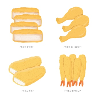 Satz gebratenes essen lokalisiert auf weißem hintergrund. karikaturillustration