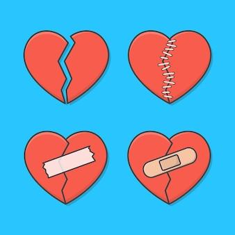 Satz gebrochenes herz mit wunde, flecken, stichen und bandagen. rotes liebesherz flach