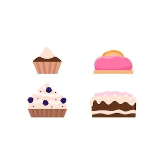 Satz geburtstagstorten und kuchen mit sahnekarikatur-vektorillustration lokalisiert