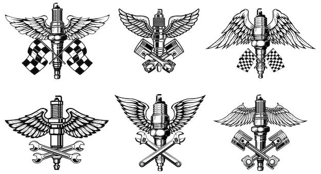 Satz geflügelte motorrad- und autozündkerzen