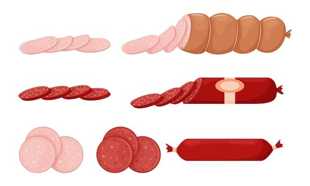 Satz gekochte wurstwaren, gegrillte würste, ganze wurst, halb, in scheiben geschnitten. fleisch essen Premium Vektoren