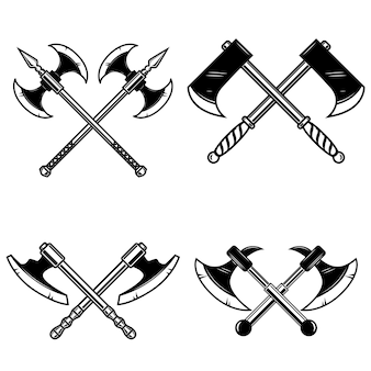 Satz gekreuzte mittelalterliche axt auf weißem hintergrund. element für logo, etikett, emblem, zeichen. illustration