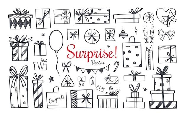 Satz gekritzelikonen der geschenkbox und der geschenke. hand gezeichnete elemente für feiertage, geburtstagsfeier