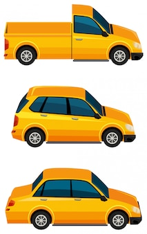 Satz gelbe autos auf weißem hintergrund