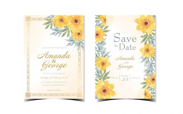 Satz gelbe blumenhochzeitseinladung mit gänseblümchenblumen