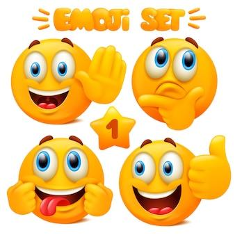 Satz gelbe emoji-ikonen emoticon-zeichentrickfigur mit verschiedenen gesichtsausdrücken im 3d-stil lokalisiert