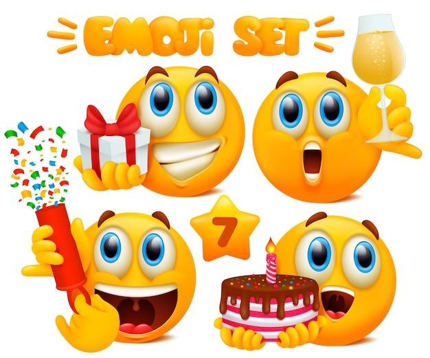 Satz gelbe emoji-zeichentrickfiguren mit verschiedenen gesichtsausdrücken in glänzendem 3d