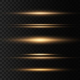 Satz gelbe horizontale linseneffektpackung. laserstrahlen, horizontale lichtstrahlen. schöne lichtfackeln. leuchtende streifen auf dunklem hintergrund. leuchtender abstrakter funkelnder gezeichneter hintergrund.